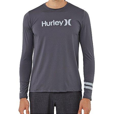 Camiseta Lycra Surf Hurley Manga Longa BP Cinza Escuro