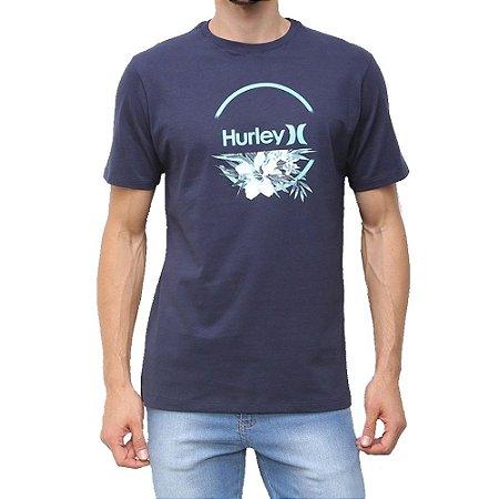 Camiseta Hurley Aqua Floral Masculina Azul Marinho