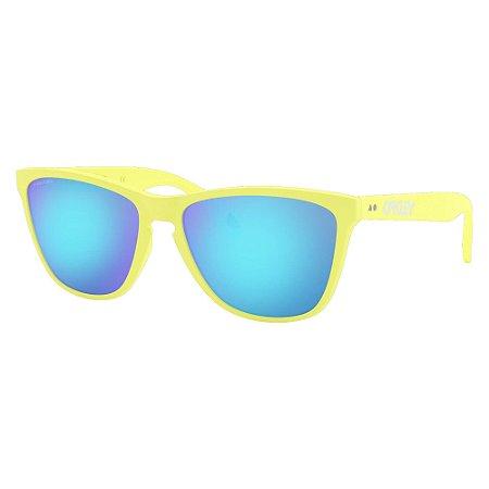 Óculos de Sol Oakley Frogskins Matte Neon Yellow W/ Prizm Sapphire