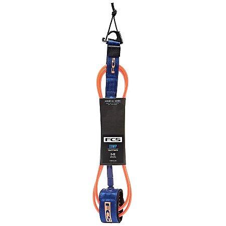 Leash FCS 6' - 5,5mm Essential Comp Laranja/Azul
