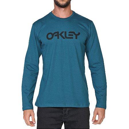 Camiseta Oakley Mark II Manga Longa Masculina Azul Escuro
