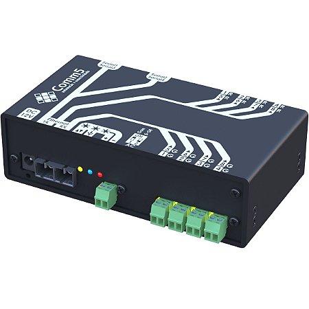 MA-50042FX Módulo de Acionamento via rede fibra ótica 100Base-FX com 4 saídas, 4 entradas e 4 Seriais