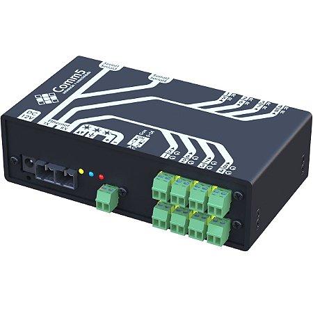 MA-51042FX Módulo de Acionamento via rede fibra ótica 100Base-FX com 8 saídas, 8 entradas e 4 Seriais