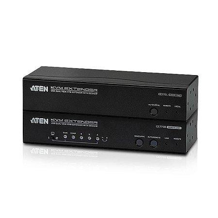 EXTENSOR DE KVM USB DUALVIEW DESKEW RS232 CAT.5E 300 M - CE-775 - ATEN