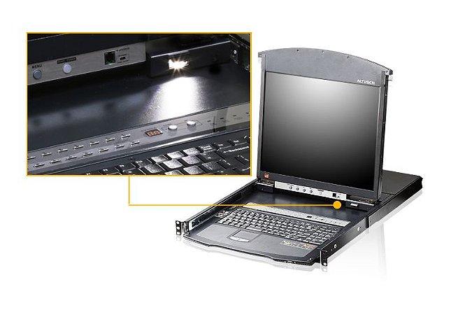KL1516Ai Comutador 1-Local / Remoto Comutador KVM sobre IP de 16 vias Cat 5 Dual Rail LCD com IP com porta de ligação em cadeia