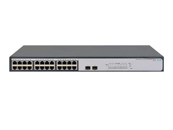 Switch 1420 Não Gerenciável 24G 2SFP com 24 Portas 10/100/1000Mbps RJ45 + 2x portas 1G SFP - HPE / JH017A