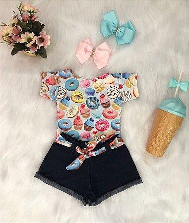 Conjunto Body e Shorts Donuts