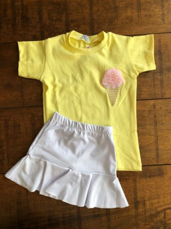 Conjunto Saia e Blusa Sorvetes Amarelo