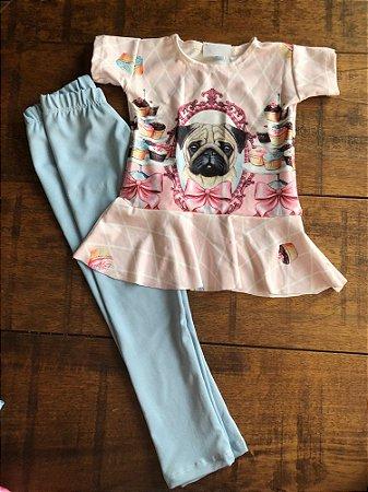 Conjunto Calça Legging e Blusa Peplum Bulldog Cupcake