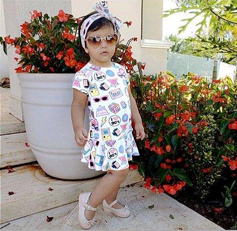 Vestido Colorido Patches com faixinha turbante