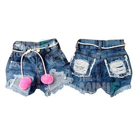 Shorts Jeans Destroyed Rasgadinho Infantil com cintinho POMPOM