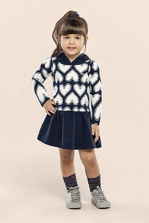 Vestido Infantil Feminino c/ Capuz - Marinho - Moletom Felpado