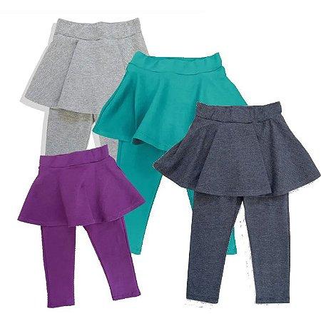 Calça Legging com saia Lisa - 1 a 4 anos