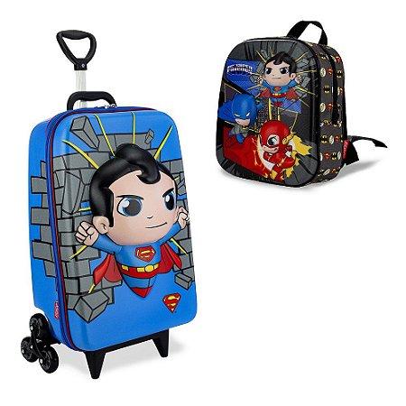 Mochila Escolar Dc Super Friends Superman e Lancheira Maxtoy