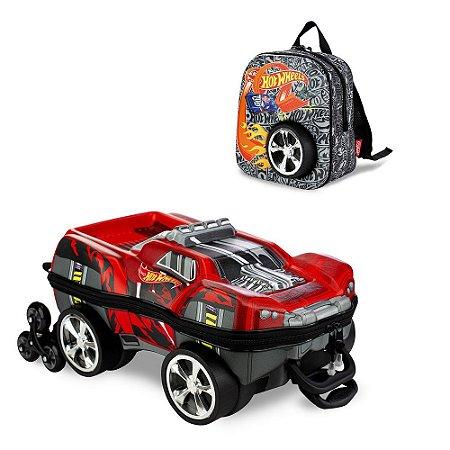 Mochila Escolar Hot Wheels Dawgzilla 3D e Lancheira Maxtoy