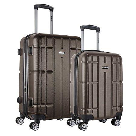 Conjunto de Malas Pequena e Media Viaggio ABS Rígida Via-1466 Marrom