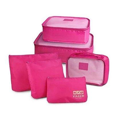 Kit Organizador de Malas com 6 Peças Jacki Design Cor Pink