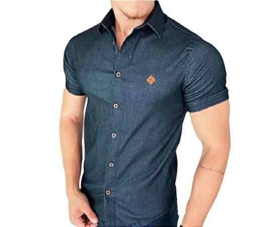 Camisa Slim Fit masculina Jeans manga curta Original