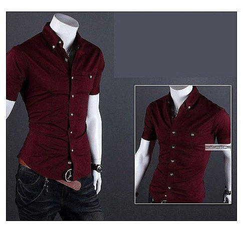 Camisa social Masculina Manga Curta Slim Fit