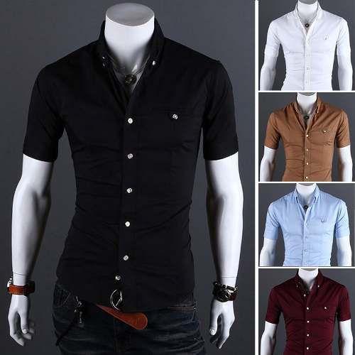 Camisa Masculina Manga Curta Slim Fit