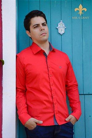 Camisa social masculina manga longa Vermelho original
