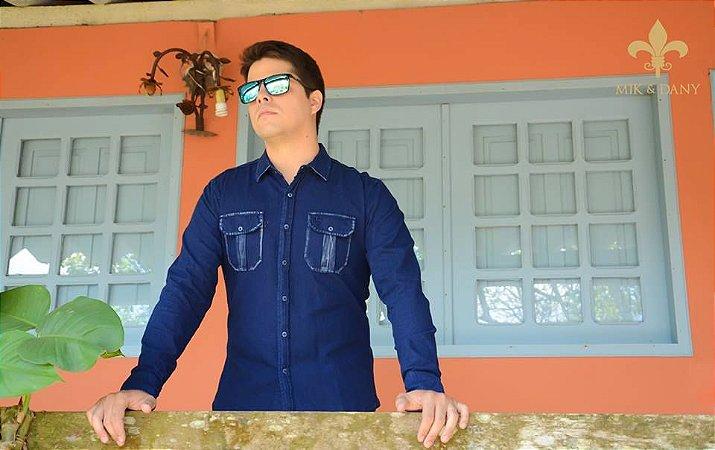 Camisa social masculina manga longa Jeans Azul original