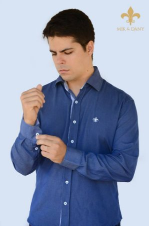 Camisa social masculina manga longa azul Royal