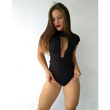 Body Feminino Tule Decote Festa Balada Blogueira Suplex