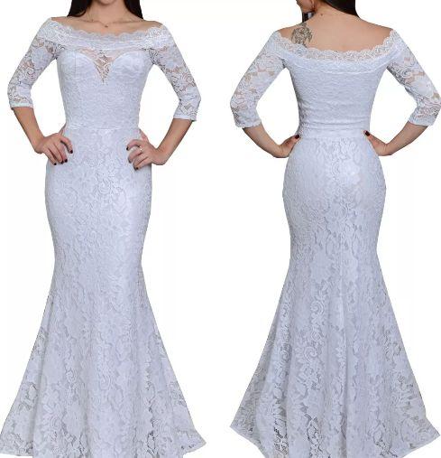 Vestido de Noiva Longo sereia em renda manguinha