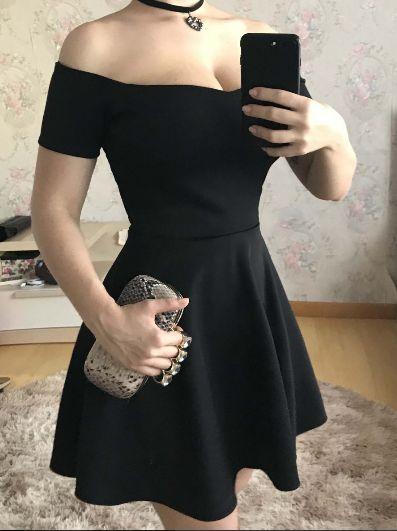 Vestido de festa curto princesa cintura marcada Preto