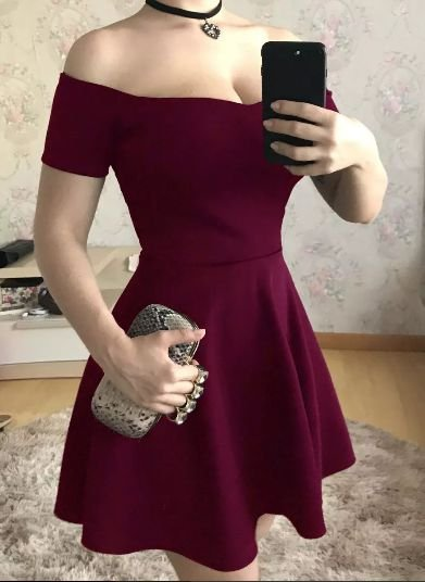 Vestido de festa curto princesa cintura marcada Marsala