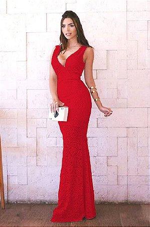 Vestido Longo Festa Vermelho Royal Madrinha casamento em Renda