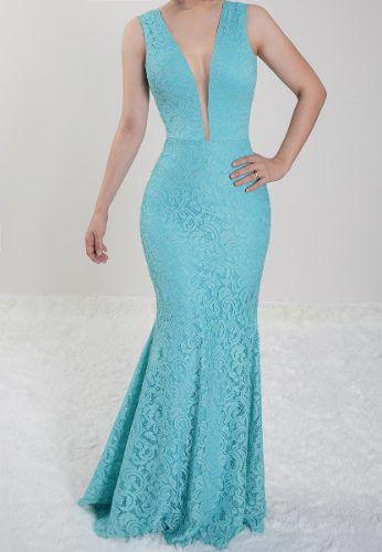 Vestido Azul Tiffany Longo Festa Madrinha de Casamento em renda