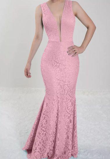 Vestido Rosê Longo Festa Madrinha de Casamento sereia em renda