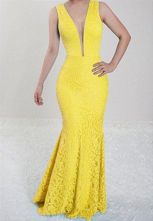 Vestido Amarelo Longo Festa Madrinha de Casamento em renda