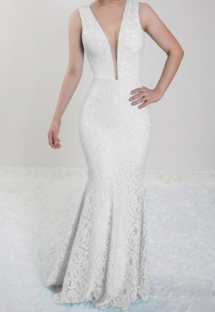 Vestido Branco Longo Noiva Festa Madrinha de Casamento sereia em renda