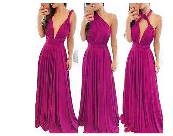 Vestido de festa Rosa Pink Longo madrinha casamento Formatura
