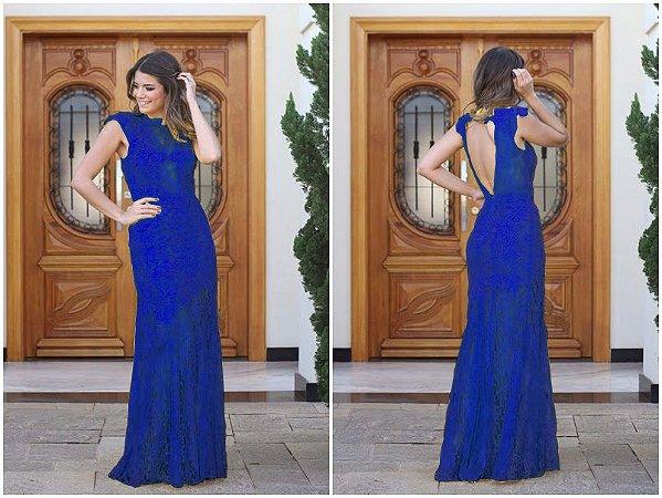 Vestido Longo Em Renda, Festa Madrinha Formatura Casamento Azul Royal Manguinh