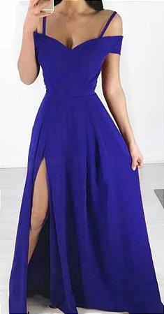 Vestido Longo Festa Fenda Madrinha formatura Azul Royal