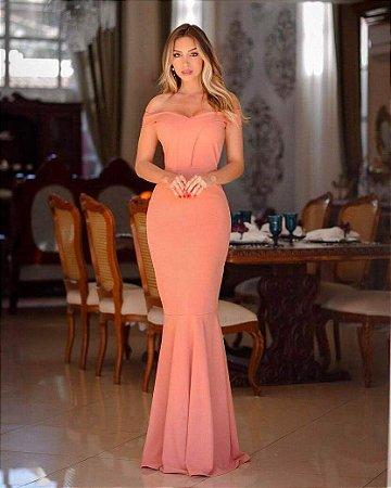 Vestido Rosê Longo Sereia Festa Madrinha casamento Ombro a Ombro