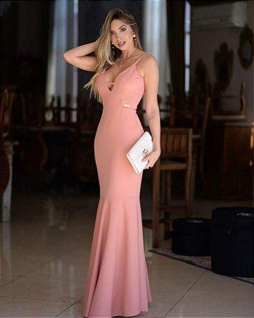 Vestido Festa Rosê Longo Sereia Longo Decote Madrinha de casamento