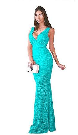 Vestido Azul Tiffany Longo Festa Formatura Madrinha de casamento