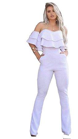 Macacão Branco feminino social de babado flare ciganinho