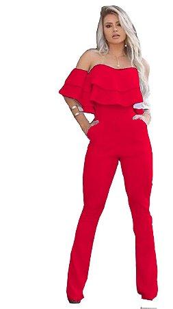 macacão feminino social de babado flare ciganinho Vermelho