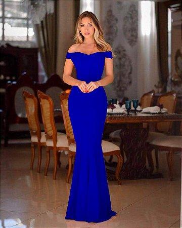 Vestido Longo Sereia Azul Royal Ombro A Ombro Madrinha Casamento