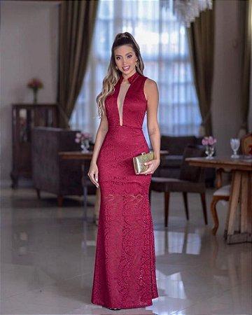 Vestido Marsala Longo Renda Sereia Gola Rainha Decote Tule Festa Madrinha casamento