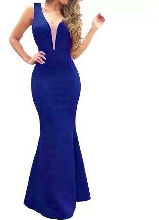 Vestido longo Festa sereia Decote em V Tule Madrinha casamento Azul Royal