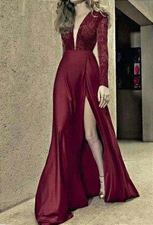 Vestido Marsala Fenda Longo Festa Madrinha casamento Formatura