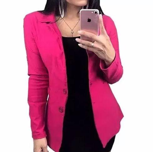 Blazer Rosa Pink Acinturado Slim Fashion