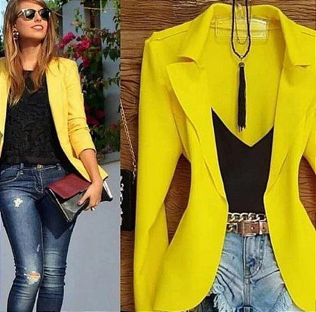 Blazer Amarelo Slim Fit Feminino Acinturado Social